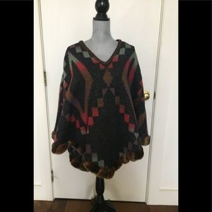Western style poncho with matching faux fur boa